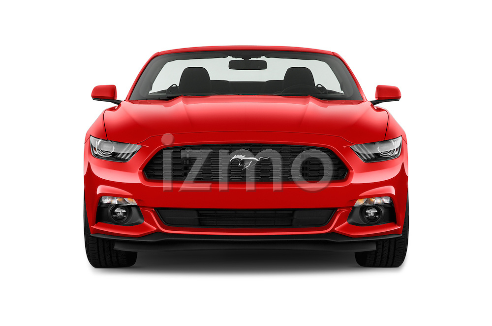 Car photography straight front view of a 2016 Ford Mustang V6 2 Door Convertible Front View