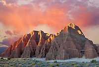 Eroded clay formations at sunrise. Cathedral Gorge State Park, Nevada