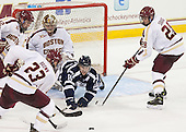 Kevin Hayes (BC - 12), Patrick Brown (BC - 23), Brad Barone (BC - 29), Rob Slaney (StFX - 10), Scott Savage (BC - 28) - The Boston College Eagles defeated the visiting St. Francis Xavier University X-Men 8-2 in an exhibition game on Sunday, October 6, 2013, at Kelley Rink in Conte Forum in Chestnut Hill, Massachusetts.