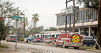 Firefighters and their equipment at one of the staging areas after Hurricane Ike, Galveston, Texas