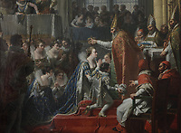 Coronation of Marie de Medici on 13th May 1610, painting by Nicolas-Andre Monsiau, 1754-1837, in the sacristy of the Basilique Saint-Denis, Paris, France. The basilica is a large medieval 12th century Gothic abbey church and burial site of French kings from 10th - 18th centuries. Picture by Manuel Cohen