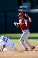 Jack Mayfield #8 of the Oklahoma Sooners during a game against the UCLA Bruins at Jackie Robinson Stadium on March 9, 2013 in Los Angeles, California. (Larry Goren/Four Seam Images)