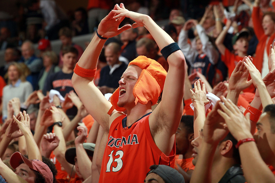 Virginia fans react during an NCAA basketball game Saturday March 1, 2014 in Charlottesville, VA. Virginia defeated Syracuse 75-56.