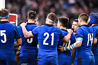 9th February 20020, Stade de France, Paris, France; 6-Nations international mens rugby union, France versus Italy;  The Italian team dejected after their loss, include Giovanni Licata, Mattia Bellini, Niccolo Cannone  and Tommaso Allan
