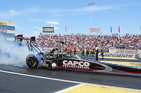 Jun. 2, 2012; Englishtown, NJ, USA: NHRA top fuel dragster driver Steve Torrence during qualifying for the Supernationals at Raceway Park. Mandatory Credit: Mark J. Rebilas-