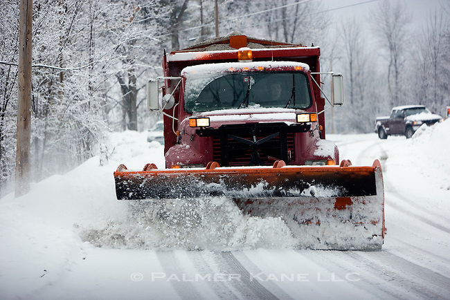 Plowing Country Road after Blizzard