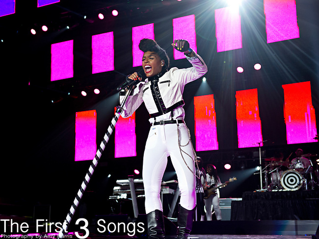 Janelle Monae performs during the 2014 Essence Festival at the Mercedes-Benz Superdome in New Orleans, Louisiana.