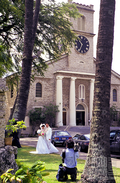 Japanese wedding at Kawaiahao Church, built of coral blocks, downtown Honolulu,