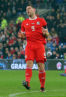 Sam Vokes of Wales jumps in disappointment after failing to score during the international friendly soccer match between Wales and Panama at Cardiff City Stadium, Cardiff, Wales, UK. Tuesday 14 November 2017.