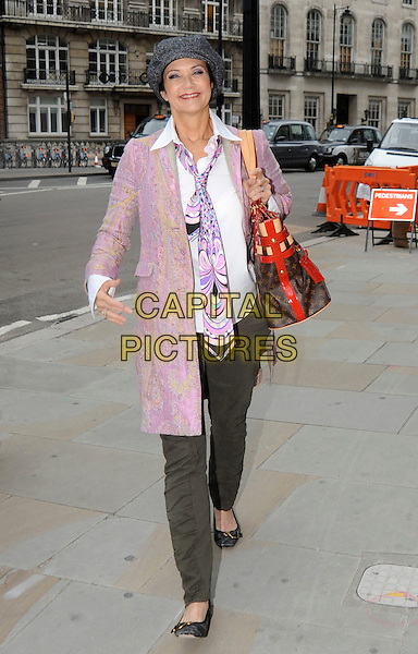 LYNDA CARTER.Leaving BBC Radio 2, London, England..September 14th, 2010.linda full length purple pink white jacket shirt tie bag purse red smiling louis vuitton grey gray trousers hat.CAP/IA.©Ian Allis/Capital Pictures.