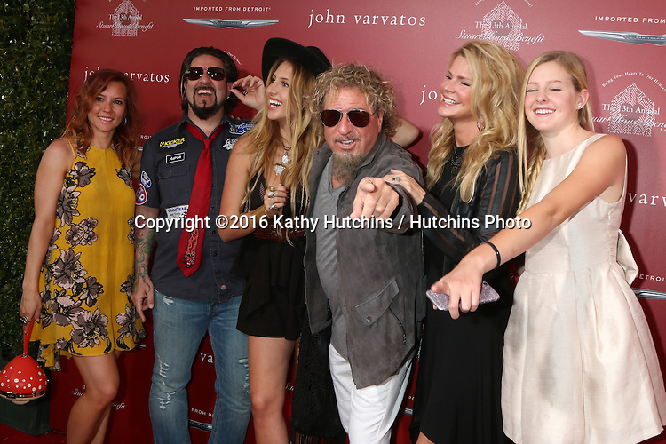 LAS VEGAS - APR 17:  Sammy's daughter-in-law, Sammy's son, Kari Karte-Hagar, Sammy Hagar, daughters at the John Varvatos 13th Annual Stuart House Benefit at the John Varvatos Store on April 17, 2016 in West Hollywood, CA