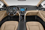 Stock photo of straight dashboard view of a 2015 Hyundai Sonata  Hybrid 4 Door Sedan