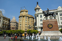 View of fountain and the city buildings of Cordoba, Andalusia, Spain.