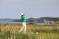 Rowan Lester (IRL) on the 15th tee during the Afternoon Singles between Ireland and Wales at the Home Internationals at Royal Portrush Golf Club on Thursday 13th August 2015.<br /> Picture:  Thos Caffrey / www.golffile.ie