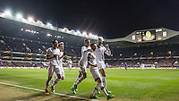 Ryan Mason (2nd right)  of Tottenham Hotspur celebrates scoring the first goal during the UEFA Europa League 2nd leg match between Tottenham Hotspur and Fiorentina at White Hart Lane, London, England on 25 February 2016. Photo by Andy Rowland / Prime Media images.