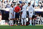 Real Madrid´s Sergio Ramos argues with the referee during 2015/16 La Liga match between Real Madrid and Celta de Vigo at Santiago Bernabeu stadium in Madrid, Spain. March 05, 2016. (ALTERPHOTOS/Victor Blanco)