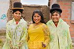 School girls in traditional clothing, Ciudad de Piedra, Andes, western Bolivia
