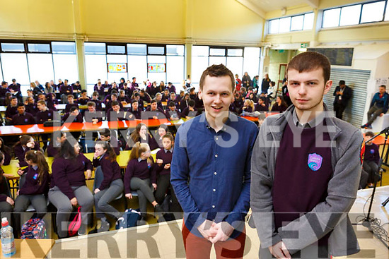 Adam Harris being introduced by Donald Walsh to the student audience as he speaks to the students on autism in Coláiste Gleann Lí on Tuesday morning last.