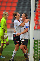 Abby Wambach and Lauren Cheney celebrate after connecting for the USA's game winning goal.  The USA defeated Norway 2-1 at Olhao Stadium on February 26, 2010 at the Algarve Cup.