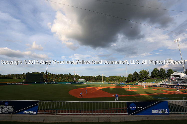 31 May 2016: A wide shot of the field during the bottom of the fourth inning. The Nova Southeastern University Sharks played the Lander University Bearcats in Game 8 of the 2016 NCAA Division II College World Series  at Coleman Field at the USA Baseball National Training Complex in Cary, North Carolina. Nova Southeastern won the game 12-1.
