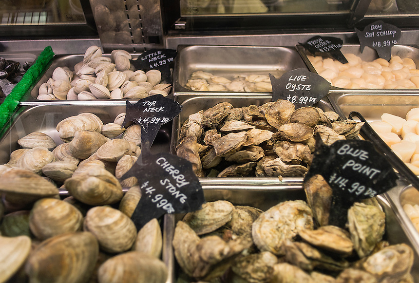 Shellfish display at a seafood market.