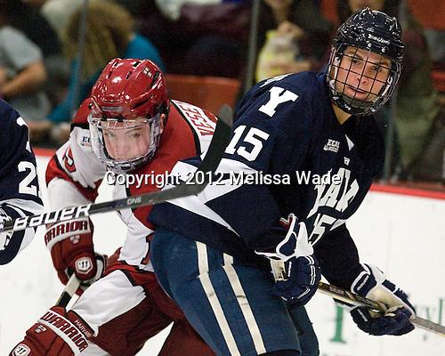 Jimmy Vesey (Harvard - 19), Clinton Bourbonais (Yale - 15) - The Yale University Bulldogs defeated the Harvard University Crimson 5-1 on Saturday, November 3, 2012, at Bright Hockey Center in Boston, Massachusetts.