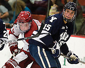 Jimmy Vesey (Harvard - 19), Clinton Bourbonais (Yale - 15) - The Yale University Bulldogs defeated the Harvard University Crimson 5-1 on Saturday, November 3, 2012, at Bright Hockey Center in Boston, Massachusetts.