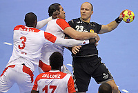 15.01.2013 Granollers, Spain. IHF men's world championship, prelimanary round. Picture show Zoran Roganovic    in action during game between Tunisia vs Montenegro at Palau d'esports de Granollers