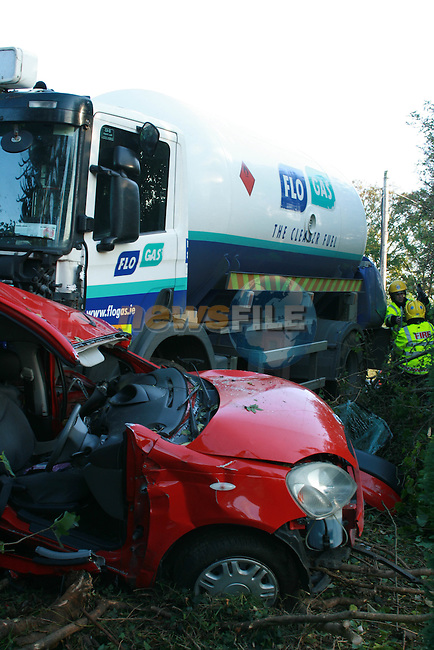 Woman left in a critical condition after a collision between her car and a Flogas tanker on the Drogheda Ashbourne Road just outside Duleek, Co Meath.  ..Photo NEWSFILE/Jenny Matthews.(Photo credit should read Jenny Matthews/NEWSFILE)....This Picture has been sent you under the condtions enclosed by:.Newsfile Ltd..The Studio,.Millmount Abbey,.Drogheda,.Co Meath..Ireland..Tel: +353(0)41-9871240.Fax: +353(0)41-9871260.GSM: +353(0)86-2500958.email: pictures@newsfile.ie.www.newsfile.ie.FTP: 193.120.102.198.
