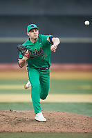 Notre Dame Fighting Irish relief pitcher Cole Kmet (33) delivers a pitch to the plate against the Wake Forest Demon Deacons at David F. Couch Ballpark on March 10, 2019 in  Winston-Salem, North Carolina. The Fighting Irish defeated the Demon Deacons 8-7 in 10 innings in game two of a double-header. (Brian Westerholt/Four Seam Images)