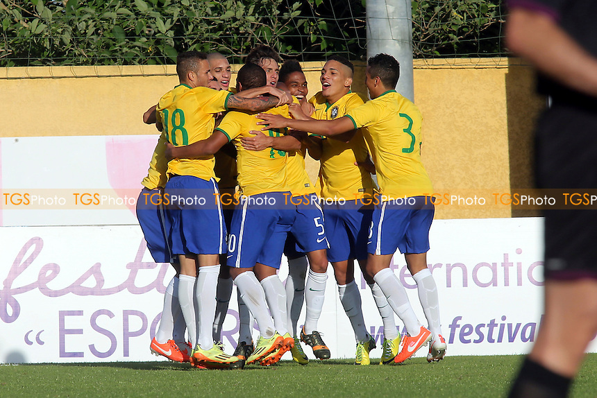 Brazil celebrate scoring their second goal - Brazil Under-20 vs Colombia Under-20 - Toulon Tournament Group B Football at Perruc Stadium, Hyeres, France - 24/05/14 - MANDATORY CREDIT: Paul Dennis/TGSPHOTO - Self billing applies where appropriate - contact@tgsphoto.co.uk - NO UNPAID USE