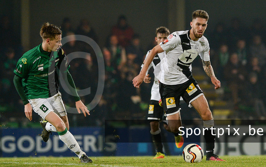 20161217 - ROESELARE , BELGIUM : Roeselare's Samy Kehli (r) pictured with Cercle's Mahieu Maertens (left) during the Proximus League match of D1B between Roeselare and Cercle Brugge, in Roeselare, on Saturday 17 December 2016, on the day 20 of the Belgian soccer championship, division 1B. . SPORTPIX.BE | DAVID CATRY
