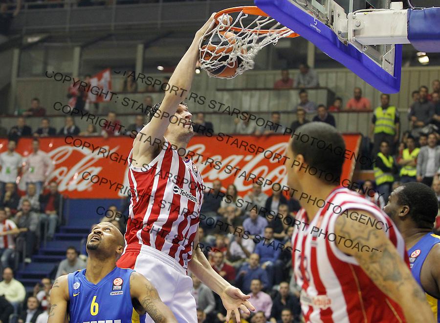Kosarka Euroleague season 2013-2014<br /> Euroleague<br /> Crvena zvezda v Maccabi Tel Aviv<br /> Boban Marjanovic (R) and Devin Smith (L)<br /> Beograd, 28.11.2013.<br /> foto: Srdjan Stevanovic/Starsportphoto &copy;