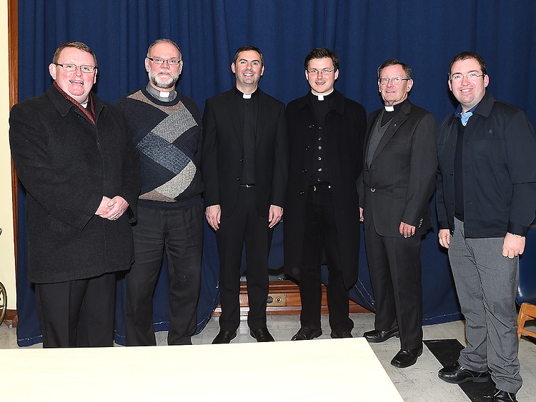 Fr Emlyn McGuinn pictured in the Medical Missionary of Mary auditorium with Fr Paul Murphy, Fr Sean Dooley, FrJohn McAlinden, Mon Jim Carroll and Barry Matthews. Photo:Colin Bell/pressphotos.ie