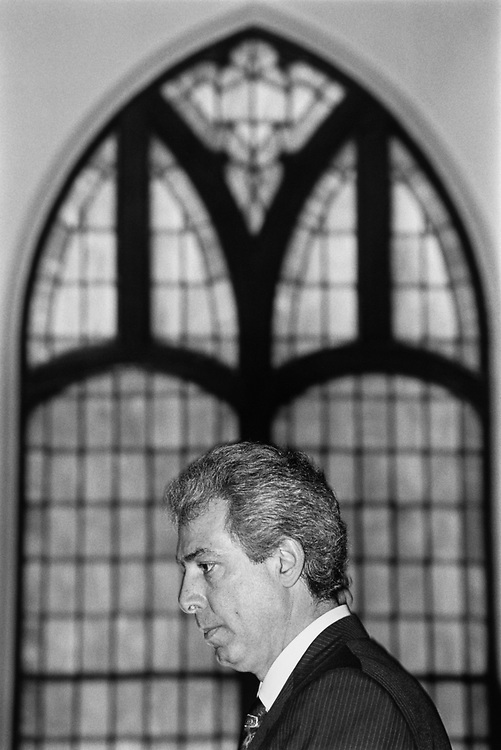 Rep. Marty Russo, D-Ill., talking about National Healthcare at Community Congress National Church in Villa Park, Illinois on Feb. 29, 1992. (Photo by Maureen Keating/CQ Roll Call)