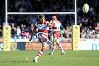 Freddie Burns of Gloucester Rugby takes a penalty kick during the Aviva Premiership match between London Wasps and Gloucester Rugby at Adams Park on Sunday 1st April 2012 (Photo by Rob Munro)