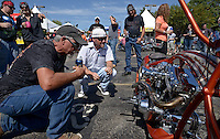 NWA Democrat-Gazette/BEN GOFF @NWABENGOFF<br /> 'Stingray,' a one-off custom bike by Jesse Rooke Customs in Phoenix, Ariz. owned by Patrick Curry of Dallas, Texas, sits on display on Saturday Sept. 26, 2015 during the Stokes Air Battle of the Bikes at the annual Bikes, Blues & BBQ motorcycle rally in downtown Fayetteville.
