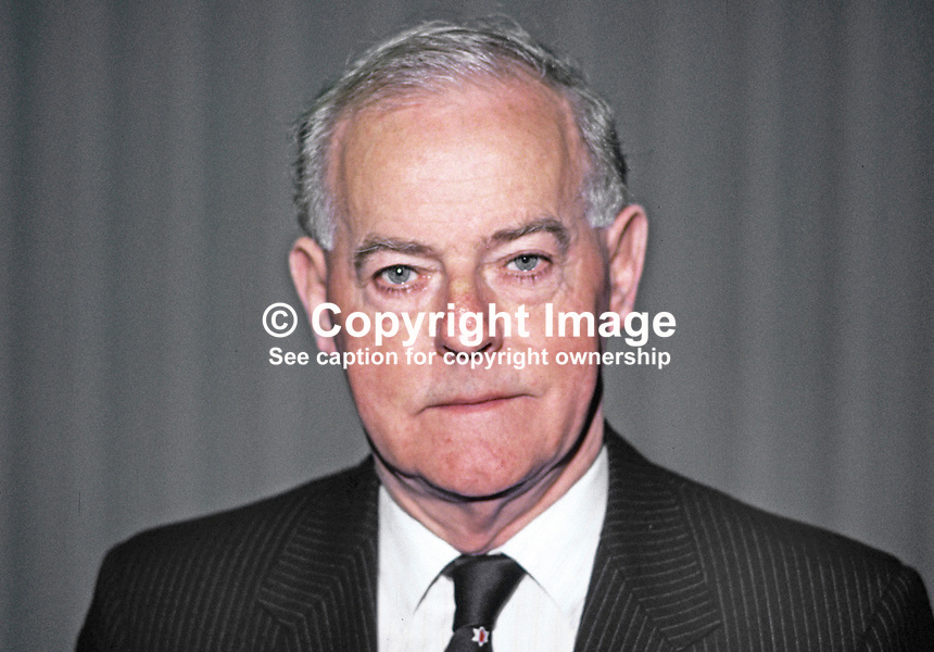 James Molyneaux, MP, UK, leader, Ulster Unionist Party, N Ireland, 19870510JM.<br />
