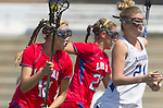 Torrance, CA 05/11/13 - Caitlin Derry (Los Alamitos #12) and Kinta Schott (Agoura #21) during the 2013 Los Angeles/Orange County Championship game between Los Alamitos and Agoura.  Los Alamitos defeated Agoura 19-4.