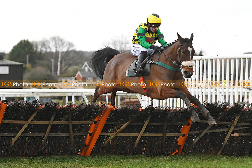 Ardbruce ridden by Jeremiah McGrath clears the last in  The That Friday-Ad Feeling Novices' Hurdle during Horse Racing at Plumpton Racecourse on 10th February 2020