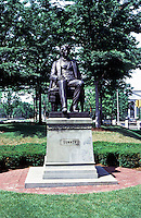 Cambridge:  Statue of Charles Sumner, seated,  Harvard Square, near Harvard Yard.  Sculptor Anne Whitney, 1900.  Photo '88.