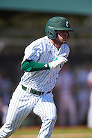 Eastern Michigan Eagles third baseman Devin Hager (23) runs to first base during a game against the Dartmouth Big Green on February 25, 2017 at North Charlotte Regional Park in Port Charlotte, Florida.  Dartmouth defeated Eastern Michigan 8-4.  (Mike Janes/Four Seam Images)