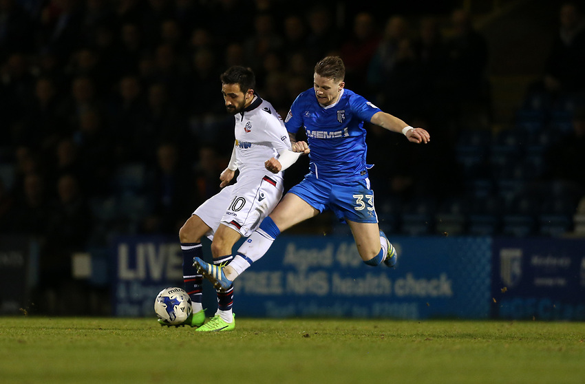 Bolton Wanderers' Jem Karacan and Gillingham's Mark Byrne<br /> <br /> Photographer Rob Newell/CameraSport<br /> <br /> The EFL Sky Bet League One - Gillingham v Bolton Wanderers - Tuesday 14th March 2017 - MEMS Priestfield Stadium - Gillingham<br /> <br /> World Copyright &copy; 2017 CameraSport. All rights reserved. 43 Linden Ave. Countesthorpe. Leicester. England. LE8 5PG - Tel: +44 (0) 116 277 4147 - admin@camerasport.com - www.camerasport.com
