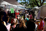 Montevideo, Uruguay - Locals walk an outdoor market in Montevideo. The Market is open every Saturday