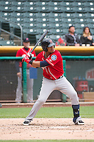 Leury Bonilla (3) of the Tacoma Rainiers at bat against the Salt Lake Bees in Pacific Coast League action at Smith's Ballpark on May 7, 2015 in Salt Lake City, Utah. The Bees defeated the Rainiers 11-4 in the completion of the game that was suspended due to weather on May 6, 2015.(Stephen Smith/Four Seam Images)