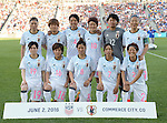 Japan team group line-up (JPN), JUNE 2, 2016 - Football / Soccer : Japan team group (L-R) Rumi Utsugi, Tomoko Muramatsu, Saki Kumagai, Mizuho Sakaguchi, Ayaka Yamashita, Yuki Ogimi, front; Mayu Sasaki, Mana Iwabuchi, Sonoko Chiba, Emi Nakajima, Yukari Kinga pose before the Women's International Friendly match between United States 3-3 Japan at Dick's Sporting Goods Park in Commerce City, Colorado, United States. (Photo by AFLO)