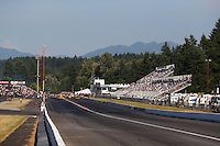 Aug. 1, 2014; Kent, WA, USA; Overall view of Pacific Raceways during NHRA qualifying for the Northwest Nationals. Mandatory Credit: Mark J. Rebilas-