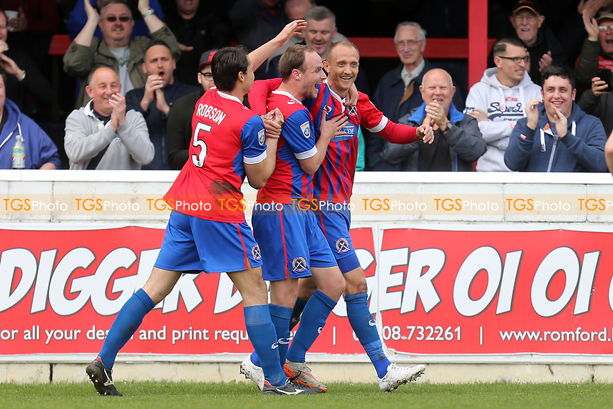 Paul Benson of Dagenham is congratulated after scoring the second goal during Dagenham & Redbridge vs Eastleigh, Vanarama National League Football at the Chigwell Construction Stadium on 1st April 2017