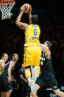 Melbourne, 15 August 2015 - Andrew BOGUT of Australia takes a shot in game one of the 2015 FIBA Oceania Championships in men's basketball between the Australian Boomers and the New Zealand Tall Blacks at Rod Laver Arena in Melbourne, Australia. Aus def NZ 71-59. (Photo Sydney Low / sydlow.com)