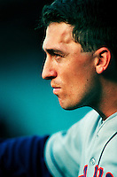 John Olerud of the New York Mets during a game at Dodger Stadium in Los Angeles, California during the 1997 season.(Larry Goren/Four Seam Images)
